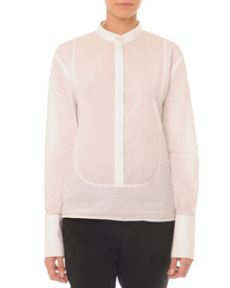 Band-Collar Poplin Bib Blouse