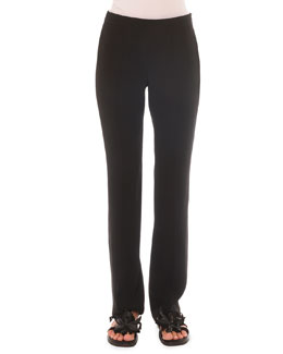 Side-Zip Slim Straight Pants