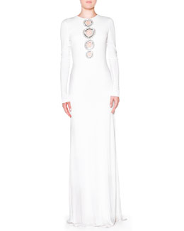Emilio Pucci Crystal-Circle-Cutout Gown, White