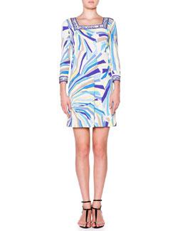 Emilio Pucci 3/4-Sleeve Dress W/ Square Border Trim