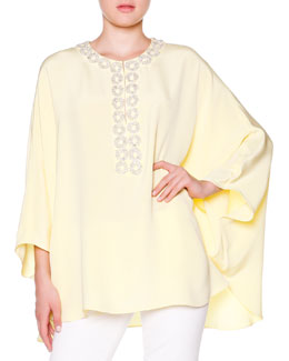 Poncho with Crystal Circle Trim