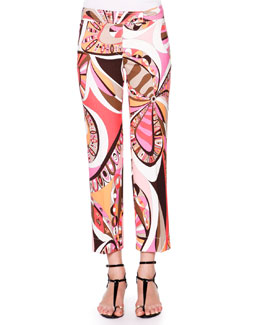 Cropped Flat-Front Printed Pants