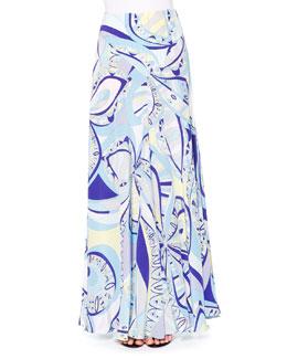 Geometric-Print Maxi Skirt