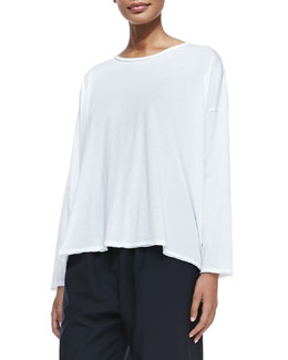 Long-Sleeve Double-Edge Knit Top, White