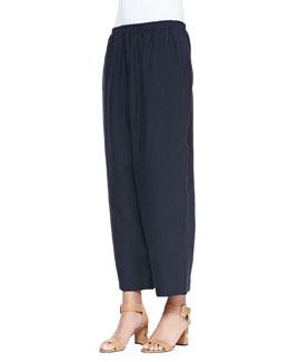 Linen Japanese Trousers, Navy Dark