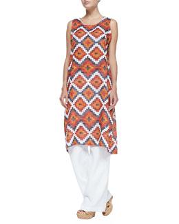 Tribal-Print Tunic Dress W/ Side Pleats