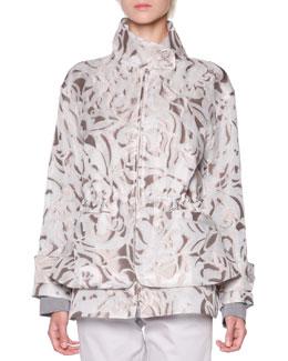 Floral Mesh Jacquard Jacket