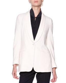 Silk/Cashmere Shawl-Collar Jacket