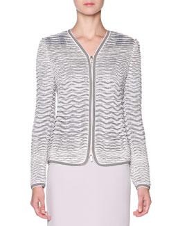 Textured Knit-Jacquard Jacket