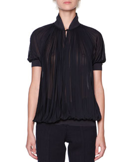 Knit-Trim Plisse Crepe Blouse