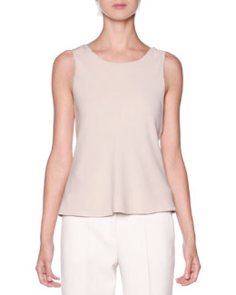 Scoop-Neck Pleated Tank Top, Almond