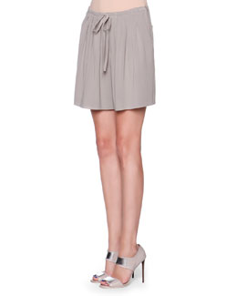 Front-Pleated Drawstring Bermuda Shorts, Gray