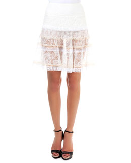 Tiered Lace Skirt, Natural