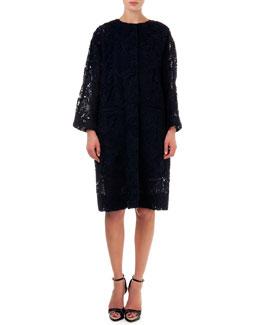 Lace Topper Coat, Black