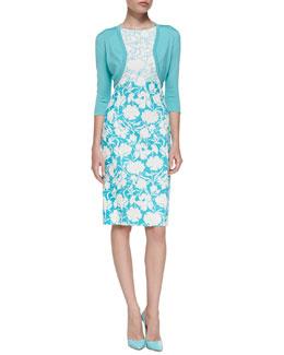 3/4-Sleeve Cotton-Silk Bolero Jacket