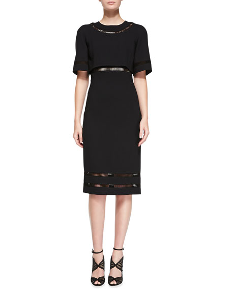 Short-Sleeve Midi Dress, Black