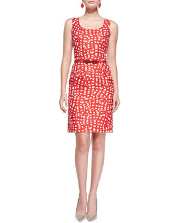 Square-Print Sheath Dress