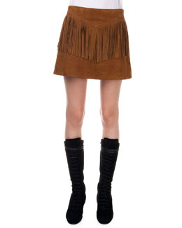 Fringed Suede A-Line Skirt