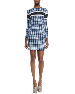 Long-Sleeve Plaid Dress W/ Colorblock Stripe