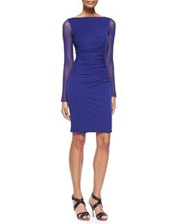 Jean Paul Gaultier Sheer-Sleeve Bateau Sheath Dress