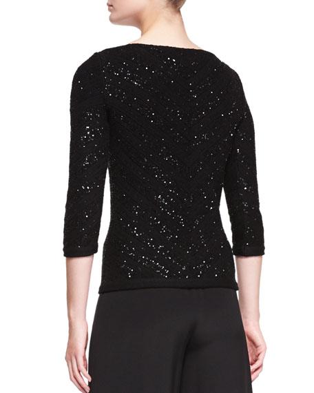 V-Neck Sequined Chevron Sweater