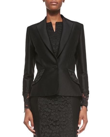 Floral-Lace Cuff Jacket, Black