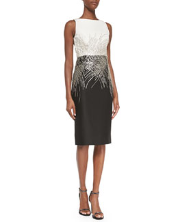 Mikado Two-Tone Beaded Cocktail Dress, Ivory/Black