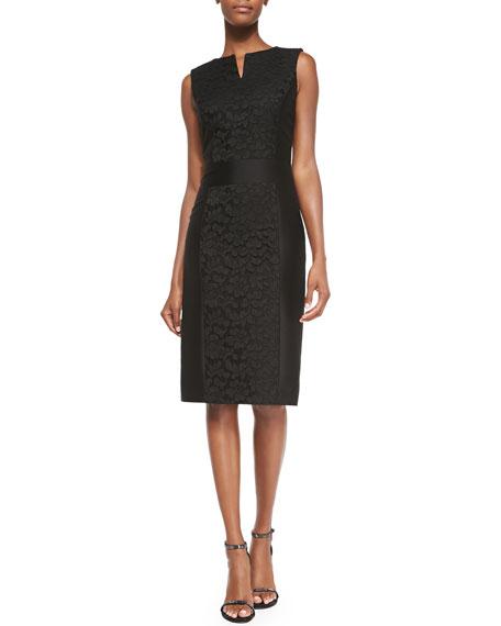 Carolina Herrera Floral-Lace Accent Sheath Dress, Black