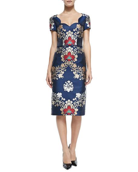 Short-Sleeve Brocade Sheath Dress