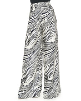 Wave-Striped Wide-Leg Pants