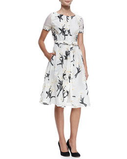 Button-Front Daisy Fil Coupe Dress