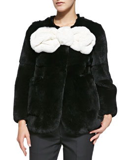 Marc Jacobs Rabbit Fur Jacket with Large Bow