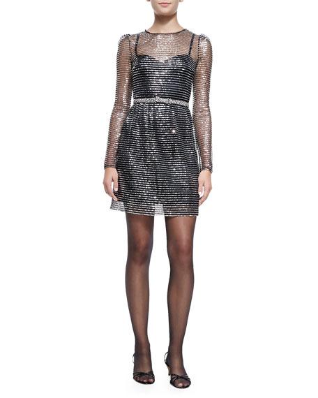Long-Sleeve Dress W/ Rhinestone Bow Belt