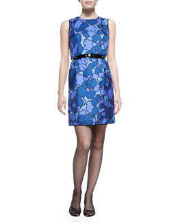 Marc Jacobs Floral-Print Silk Sheath Dress with Contrast Back