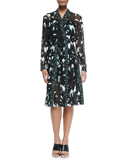 Long-Sleeve Printed Dress W/ Pleated Skirt