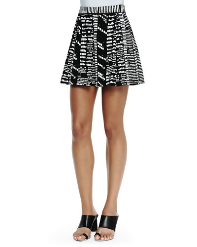 Printed Pleated Shorts, Black/White