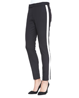 Double-Weave Wool Diane Pants, Black/Ivory