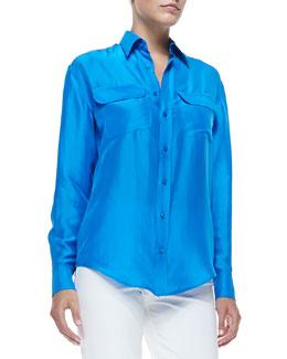 Benford Washed Silk Shirt, Tropical Blue