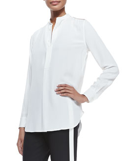 Winton Organza-Inset Tunic, Ivory