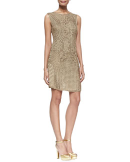 Ralph Lauren Black Label Sleeveless Crocheted Sheath Dress