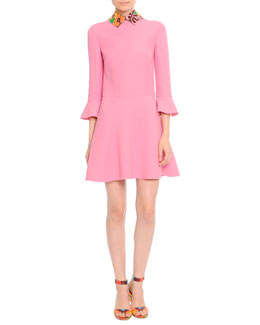 3/4-Sleeve Leather-Collared Dress
