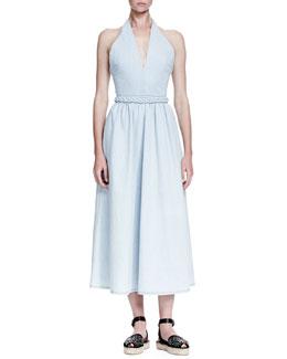 Denim Dress with Braided Belt