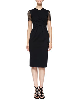 Surplice-Neck Sheath Dress with Eyelet Sleeves