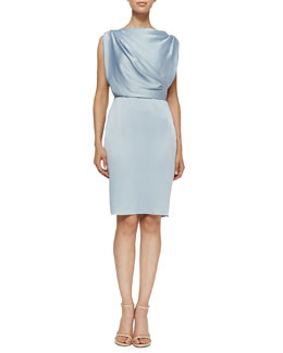 Sleeveless Sheath Dress W/ Draped Back