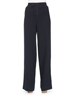 Wide-Leg Wool Pants W/ Drawstring