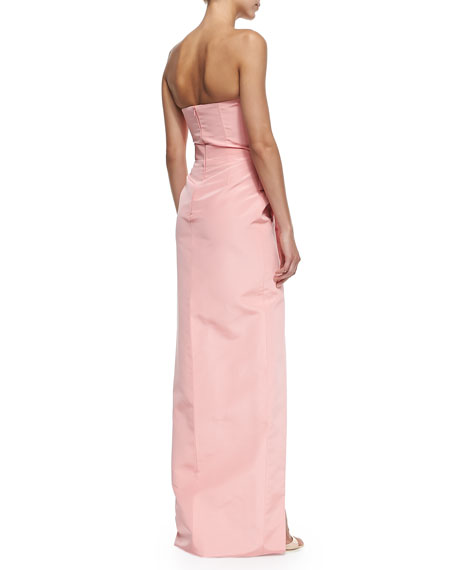 Strapless Draped-Side Column Gown
