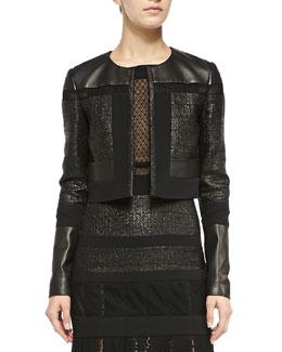 Cropped Leather & Tweed Jacket, Noir