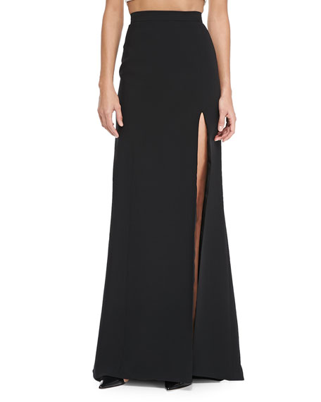 Long Skirt with High Slit, Noir
