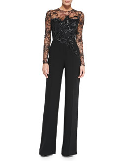 Long-Sleeve Embroidered Lace Jumpsuit