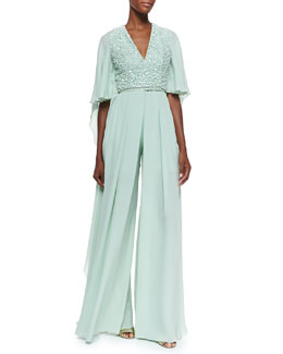 Embellished Wide-Leg Silk Jumpsuit, Mint